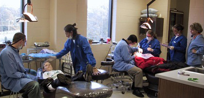 Teeth cleaning services are provided to children by the dential hygiene students during clinic hours.